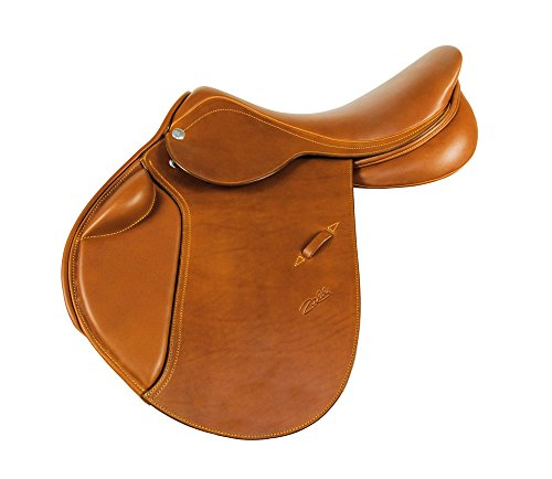 Selle de saut d'obstacle en cuir cognac Zaldi modèle New star